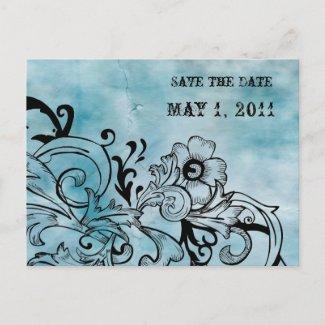 Retro Blue Floral Save the Date zazzle_postcard
