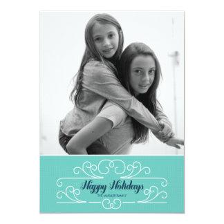Retro Blue Florish Holiday Photo Card