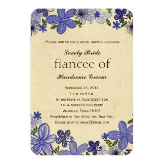 Retro Blue Flowers Bridal Shower Small Invitation