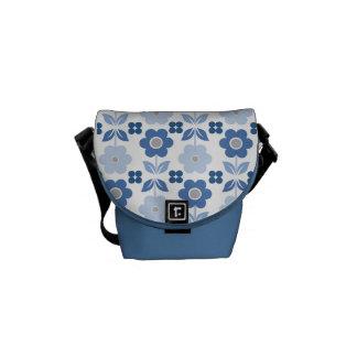 Retro Blue Flowers Courier Bag