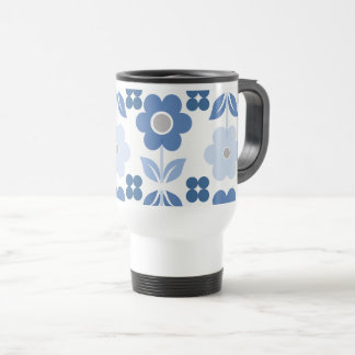 Retro Blue Flowers Travel/Commuter Mug