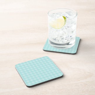 Retro Blue Gingham Checkered Pattern Background Beverage Coaster