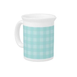 Retro Blue Gingham Checkered Pattern Background Beverage Pitcher