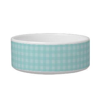 Retro Blue Gingham Checkered Pattern Background Bowl