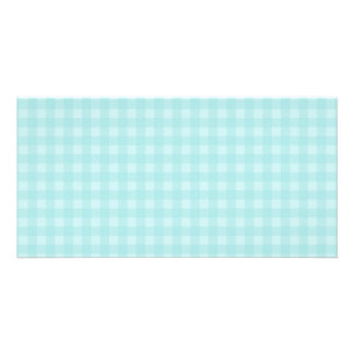 Retro Blue Gingham Checkered Pattern Background Card