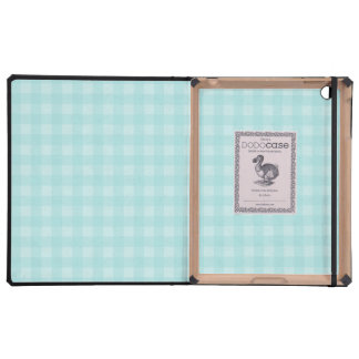 Retro Blue Gingham Checkered Pattern Background Cover For iPad