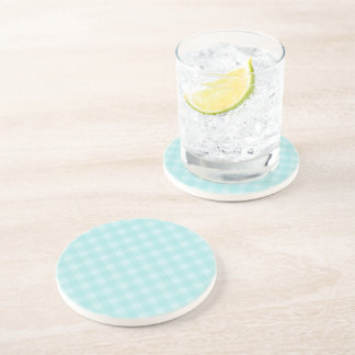 Retro Blue Gingham Checkered Pattern Background Drink Coaster