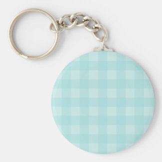Retro Blue Gingham Checkered Pattern Background Keychain