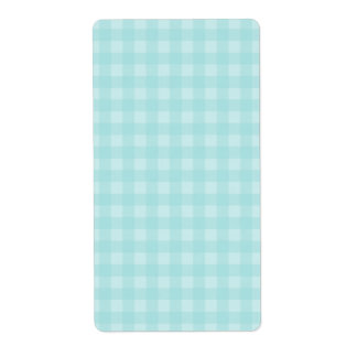 Retro Blue Gingham Checkered Pattern Background Label
