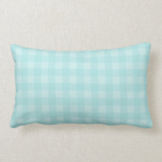 Retro Blue Gingham Checkered Pattern Background Lumbar Pillow