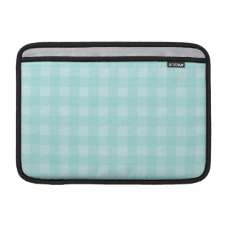 Retro Blue Gingham Checkered Pattern Background MacBook Sleeve