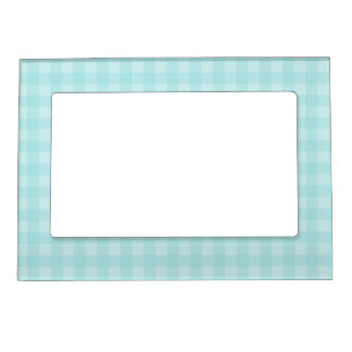 Retro Blue Gingham Checkered Pattern Background Magnetic Picture Frame