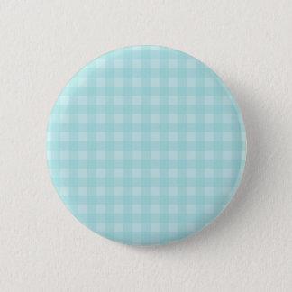 Retro Blue Gingham Checkered Pattern Background Pinback Button