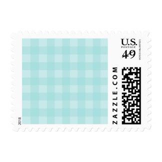 Retro Blue Gingham Checkered Pattern Background Postage