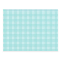 Retro Blue Gingham Checkered Pattern Background Postcard