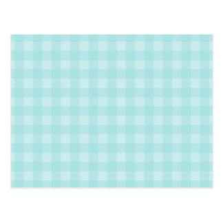 Retro Blue Gingham Checkered Pattern Background Postcard