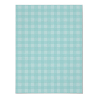 Retro Blue Gingham Checkered Pattern Background Poster