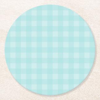 Retro Blue Gingham Checkered Pattern Background Round Paper Coaster
