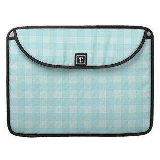 Retro Blue Gingham Checkered Pattern Background Sleeve For MacBooks