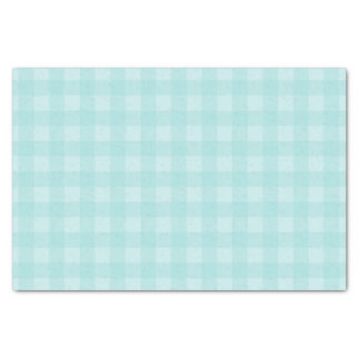 Retro Blue Gingham Checkered Pattern Background Tissue Paper
