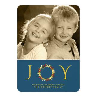 Retro Blue Gold Non-Religious Floral Wreath Photo 4.5x6.25 Paper Invitation Card