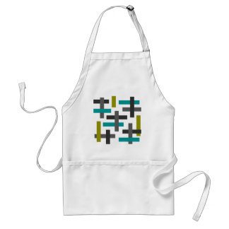 Retro Blue, Green, Grey Abstract Adult Apron