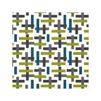 Retro Blue, Green & Grey Abstract Canvas Print