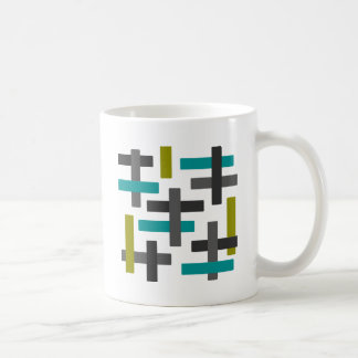 Retro Blue, Green, Grey Abstract Coffee Mug
