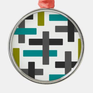 Retro Blue, Green, Grey Abstract Metal Ornament