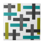 """Retro Blue, Green, Grey Abstract Tile<br><div class=""""desc"""">A great retro abstract evoking a feel of chic,  mid-century modern style.</div>"""