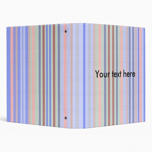 Retro blue green patterned stripes vinyl binder