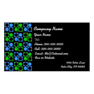 Retro Blue Green Square Circle on Black Business Business Card Templates