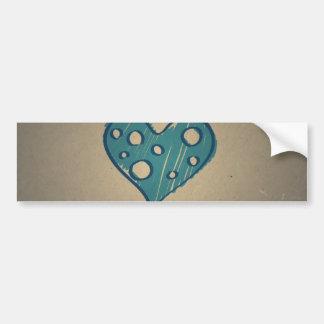 Retro Blue Heart. Sepia Vintage Design Bumper Sticker