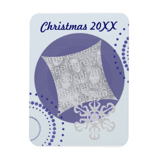 Retro Blue Holiday Photo Magnet