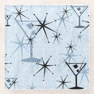 Retro Blue Martini Stars Glass Coaster