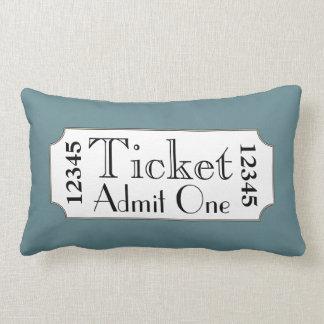 Retro Blue Movie Ticket Cinema Pillow