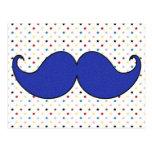Retro Blue Mustache Moustache Postcard
