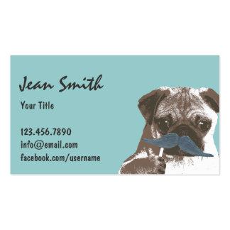 Retro Blue Mustache Pug Dog Business Card