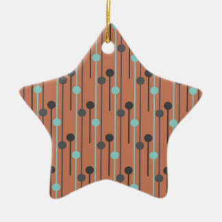 retro blue on salmon swizzle sticks ceramic ornament