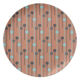 retro blue on salmon swizzle sticks melamine plate
