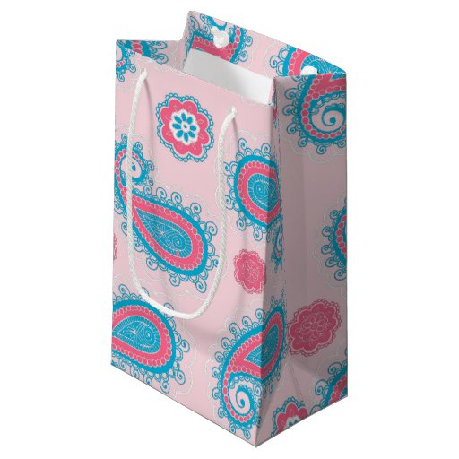 Retro Blue Paisley Floral On Pink Small Gift Bag | Zazzle