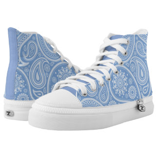 Retro Blue Paisley Floral Pattern High-Top Sneakers