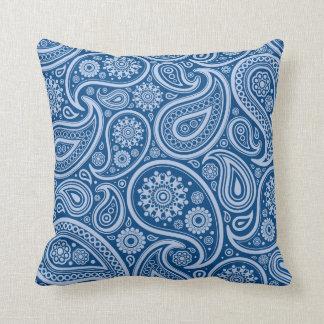 Retro Blue Paisley Pattern Pillows