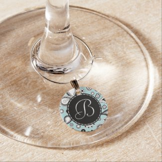Retro Blue Paisley Pattern with Monogram Wine Charm