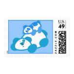 Retro Blue Panda Parent & Cub Postage