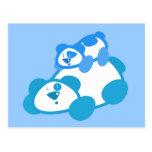 Retro Blue Panda Parent & Cub Postcard