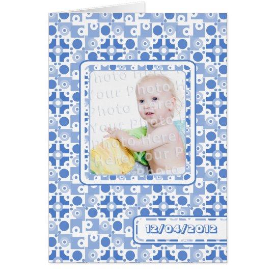 Retro Blue Pattern Baby Boy Birth Annoucement Card