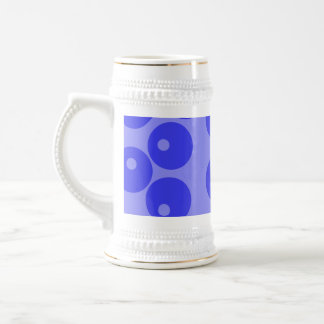 Retro blue pattern. Circles design. Beer Stein
