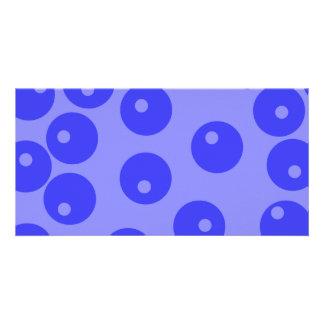 Retro blue pattern. Circles design. Picture Card