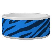 Retro Blue Pattern Zebra Abstract Art Bowl